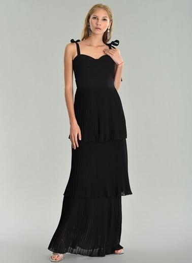 Agenda Şifon Kat Kat Piliseli Uzun Elbise Siyah